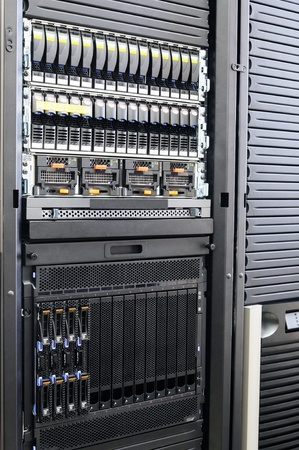 Rack mounted system storage and blade servers Stock Photo