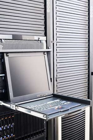 Rack mounted blade servers, keyboard and LCD monitor Stock Photo - 8654707