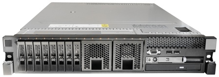 Rack mount server front view isolated on the white