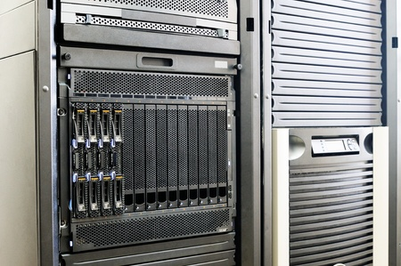 Blade servers and system storage in rack