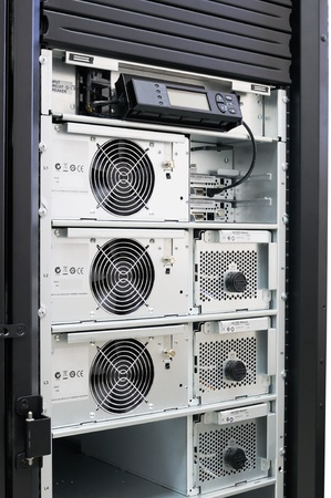 Rack mounted power supply system, open front door Stock Photo - 8703383