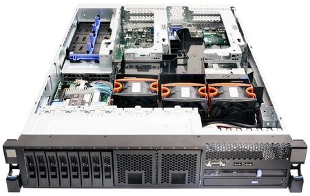 Rack mount server above view, without top cover, isolated on the white