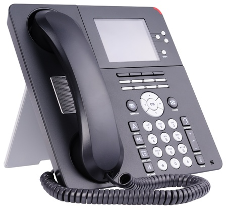 Office IP telephone set with LCD isolated on the white Stock Photo