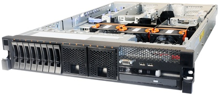 Rack mount server without top cover isometric view, isolated on the white