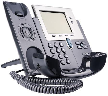 hands free phone: Conjunto de tel�fono IP, gancho, aislado en el blanco