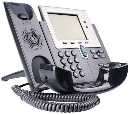 IP telephone set, off-hook, isolated on the white