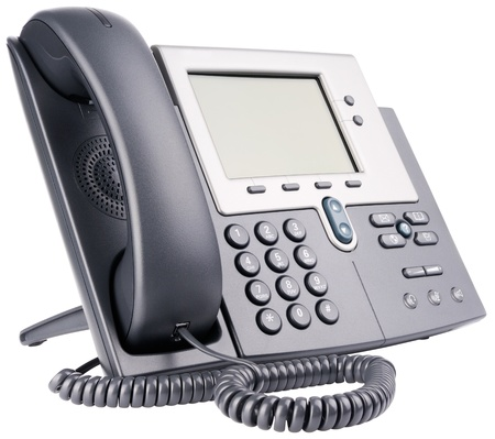 telephone handset: Office IP telephone set with big LCD isolated on the white