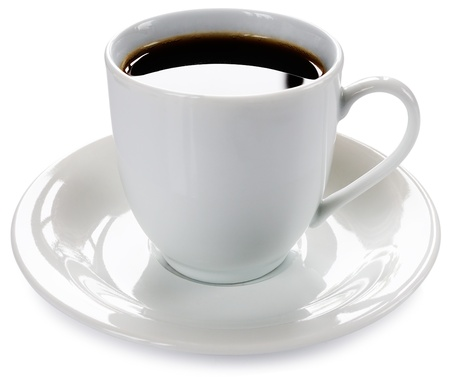 Porcelain cup of coffee and saucer over white background Stock Photo - 9591806
