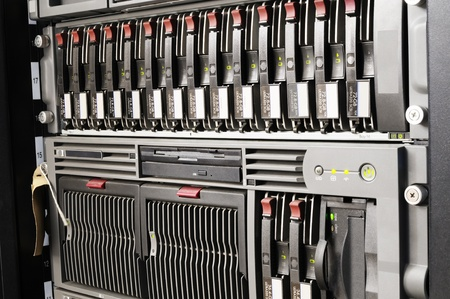 Rack mounted blade servers and system storage