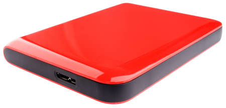 External hard disk drive on red case isolated on the white photo