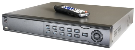 Video recorder with remote control isolated on the white