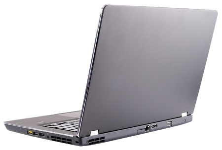 laptop (notebook) with open cover, rear isometric view, isolated on the white Stock Photo