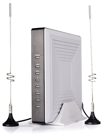 Network wireless device with antennas over white background