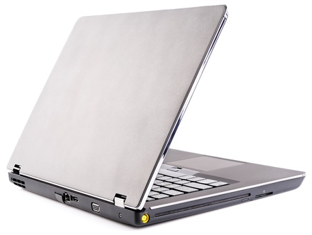 Notebook (laptop) with open cover, rear isometric view over white background