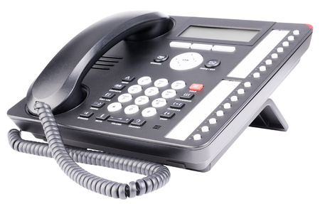 lcd: Office IP telephone set with LCD isolated on the white Stock Photo