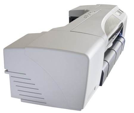 inkjet: Office ink-jet plotter side view, isolated on the white background Stock Photo