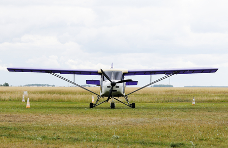 monoplane: Private propeller-driven airplane standing on green grass