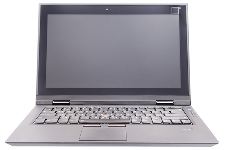 Open laptop (notebook) front view isolated on the white background Stock Photo