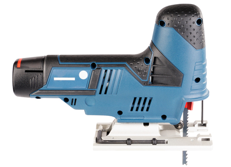 Electrical fretsaw side view isolated on the white background Stock Photo