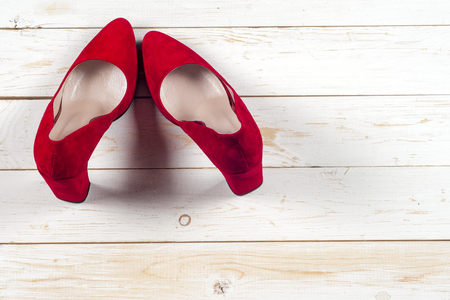 Red female shoes on high heels Stock Photo