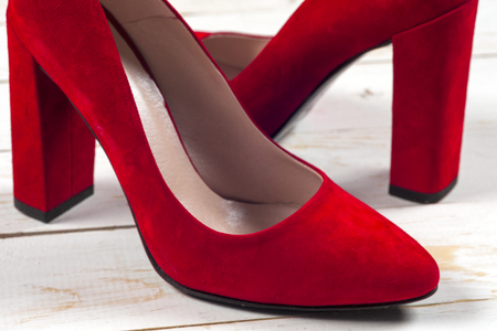 Red female shoes on high heels 写真素材