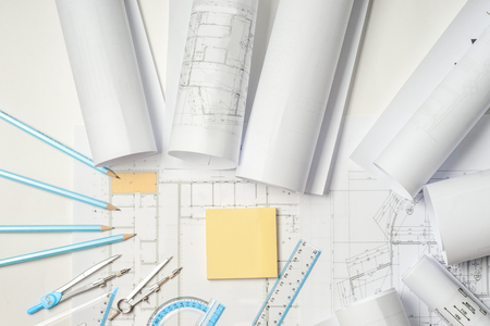 architect: Workplace of architect - rolls and plans.