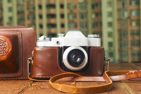 vintage camera on table. Copy space.