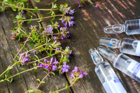 Alternative Medicine.Thyme and medical ampoules. Essential oils 写真素材 - 130719133