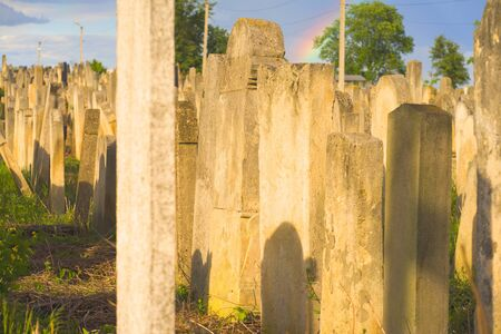 The Old Jewish cemetery at colorful sunset sky, Chernivtsi Ukraine. 写真素材 - 143331433