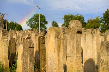 The Old Jewish cemetery at colorful sunset sky, Chernivtsi Ukraine 写真素材