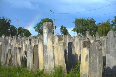 The Old Jewish cemetery at colorful sunset sky, Chernivtsi Ukraine.