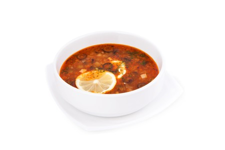 soljanka: Soup solyanka on white background Stock Photo