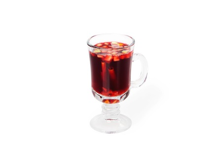 Hot red mulled wine isolated on white background photo