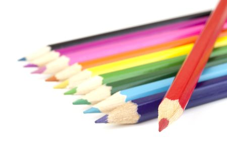 Bright colored pencils isolated on white Stock Photo