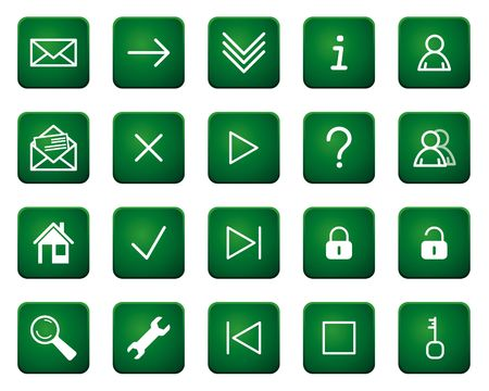 shortcuts: Set of web icons and button. White on green background
