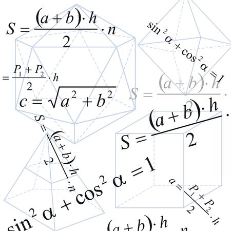 Geometry background with formula and figures on white paper photo