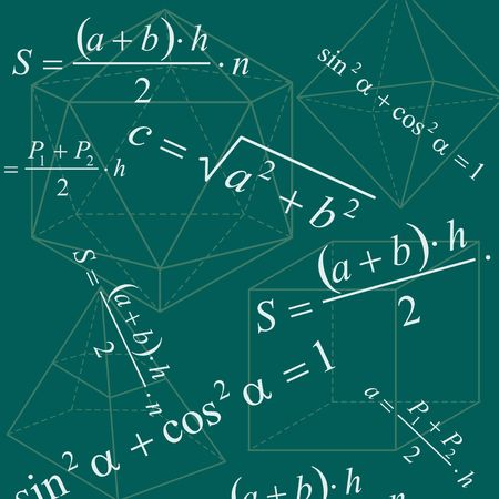 green issue: Math geometry backround with formulas and figures