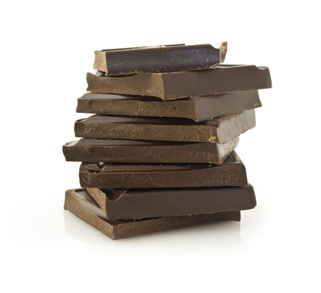 isoleted: Pile of chokolate blocks isoleted on white background