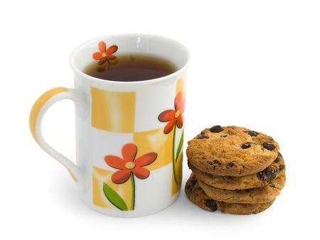 Cup of tea and chokolat cookies photo