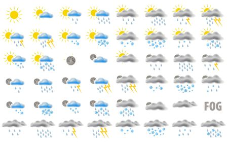 partly sunny: Set of web weather icons