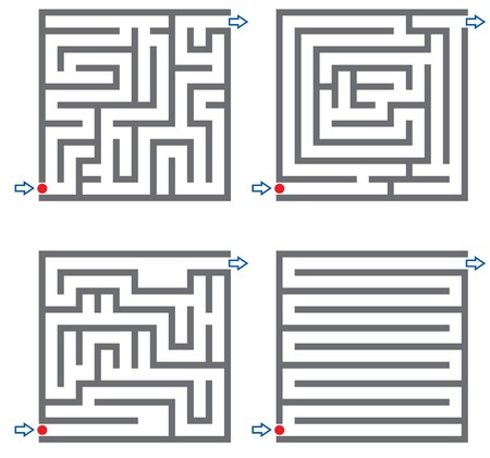 riddle: Set of small labyrinth Stock Photo