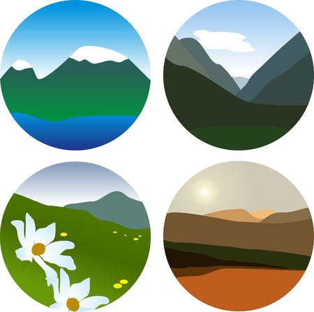 Set of small mauntains vector picture photo