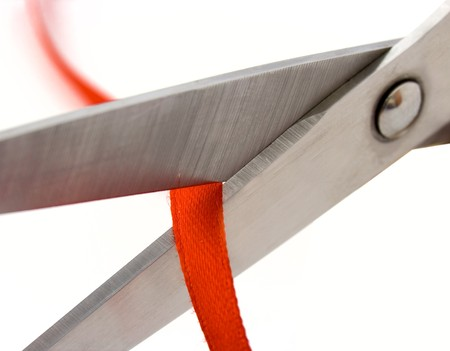 Scissors and red line photo
