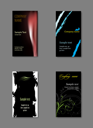 Black vector business card template. Vector