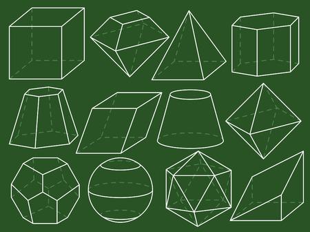 octahedron: Geometrical figures on green blackboard