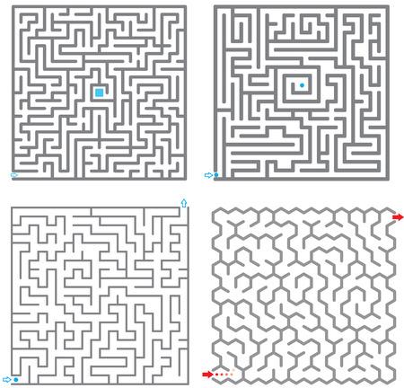 Set van kleine labyrint