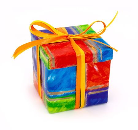 Colored gift box isolated on white background photo