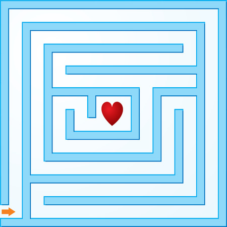 Small blue maze with heart Stock Vector - 4876984