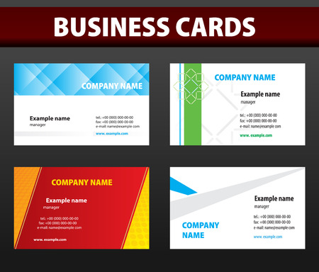 Four business cards. Vector template. Vector