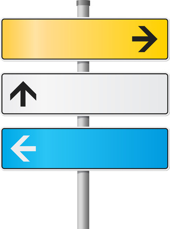 Road and signs with arrows Stock Vector - 5734463